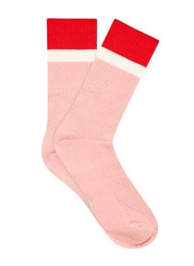 Mavi Bileği Renkli  Soket Çorap Pembe